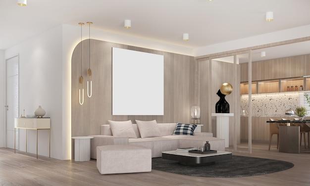Design interior moderno de sala de estar e sala de jantar e árvore de natal e textura de parede