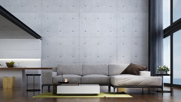 Design interior moderno de sala de estar tropical e parede de concreto branca