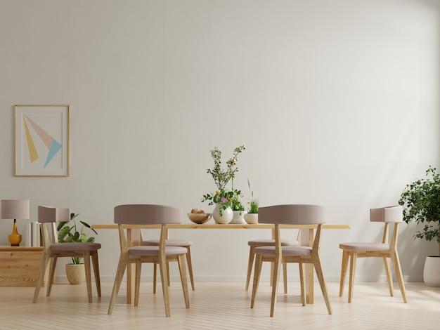 Design interior moderno de sala de jantar com parede branca
