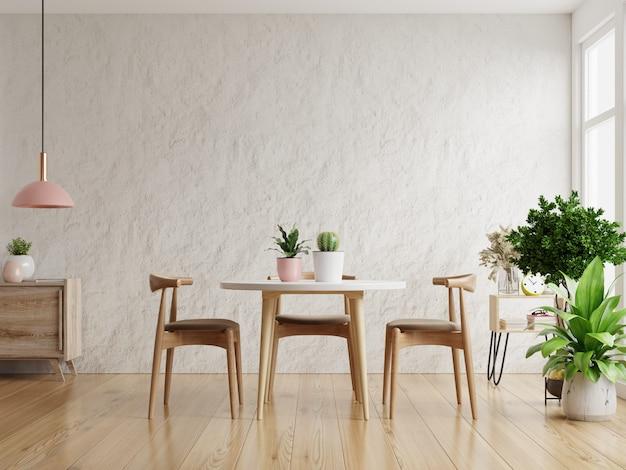 Design interior moderno de sala de jantar com renderização 3d de parede de gesso branco