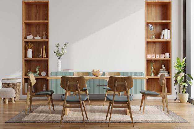 Design interior moderno de sala de jantar com renderização em parede branca.