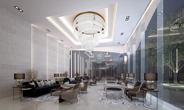 Design interior moderno de salão e sala de estar e parede de concreto branco
