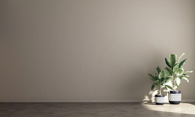 Design interior moderno e aconchegante com sala de estar vazia e fundo bege com padrão de parede, renderização em 3d