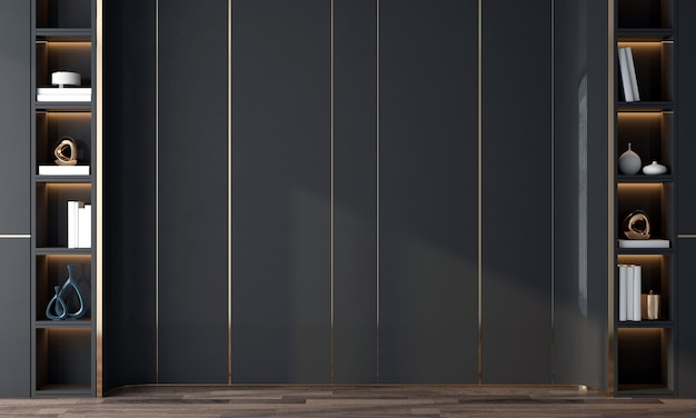 Design interior moderno e aconchegante da sala de estar e da textura da parede traseira