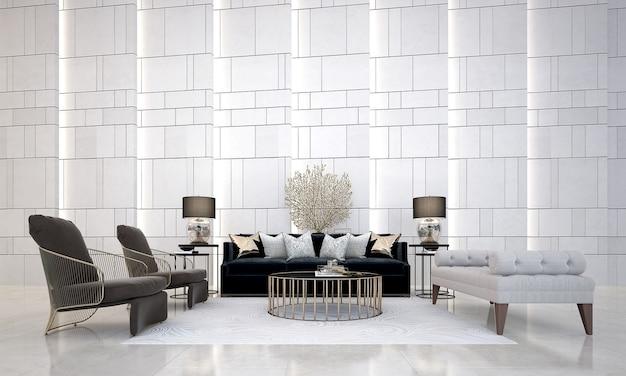 Design interior moderno e aconchegante da sala e da parede do lounge
