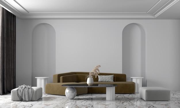 Design interior moderno e aconchegante de bela sala de estar e parede branca