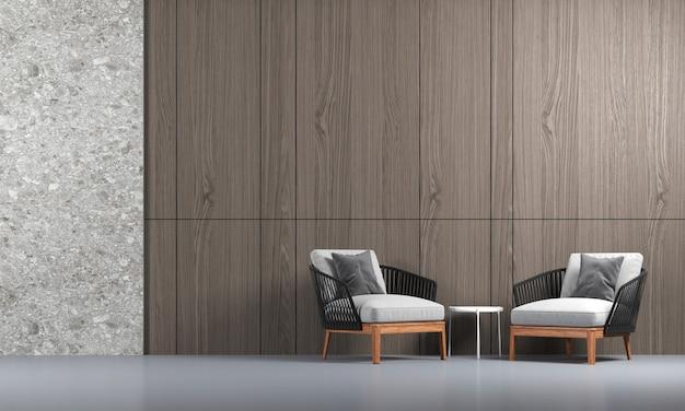 Design interior moderno e aconchegante de sala de estar com textura de madeira