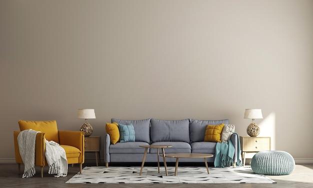 Design interior moderno e aconchegante de sala de estar e fundo bege de parede padrão, renderização em 3d
