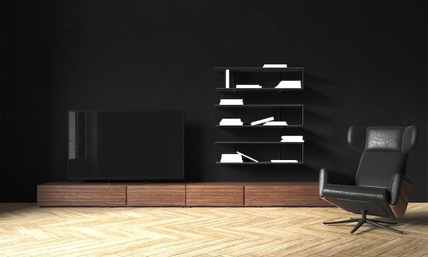 Design interior moderno e aconchegante de sala de estar e fundo de textura de parede preta