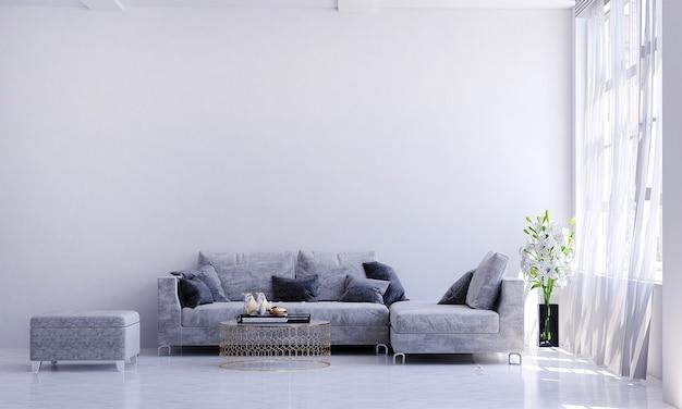 Design interior moderno e aconchegante de sala de estar e parede branca
