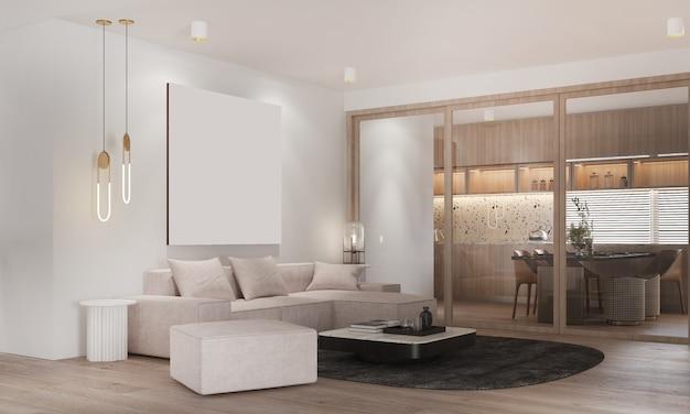 Design interior moderno e aconchegante de sala de estar e sala de jantar e parede branca