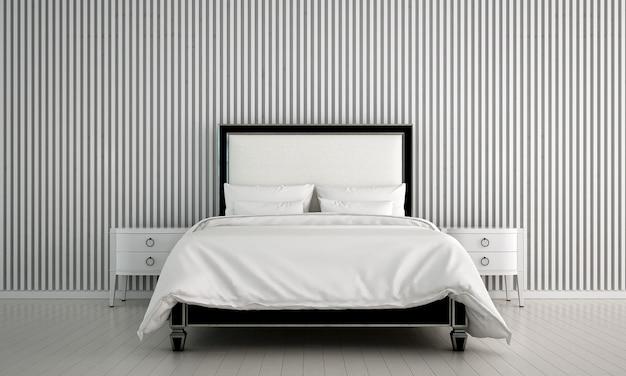 Design interior moderno e aconchegante no interior do quarto, aparador, cômoda e fundo de parede de ladrilho de madeira