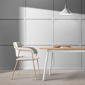 Design interior moderno e luxuoso de sala de jantar com lâmpadas de teto