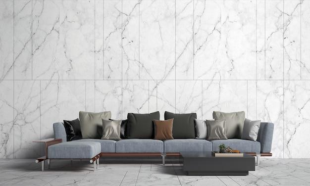 Design interior moderno e simulação de sala de estar e textura de parede de mármore branco