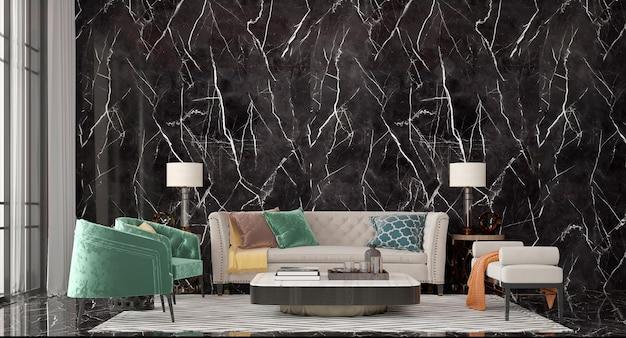 Design interior moderno e simulação de sala de estar luxuosa