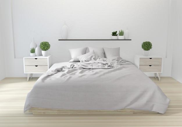Design japonês de quarto de cama branca