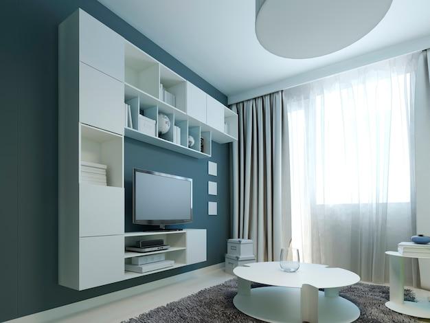 Design luminoso de salão moderno com mobília branca.