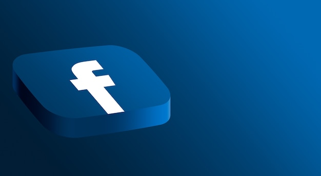 Design minimal do logotipo do facebook em 3d