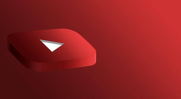 Design minimal do logotipo do youtube 3d