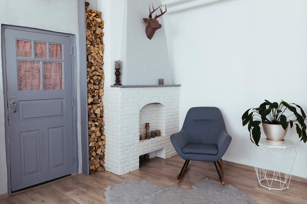 Design minimalista da sala de estar vintage