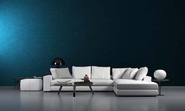 Design minimalista de interiores e móveis de sala de estar e textura de parede azul