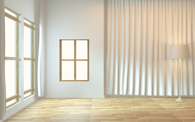 Design minimalista de quarto vazio zen. renderização 3d