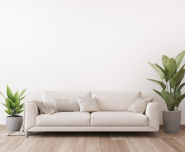Design minimalista de sala de estar bem iluminada com sofá branco e plantas