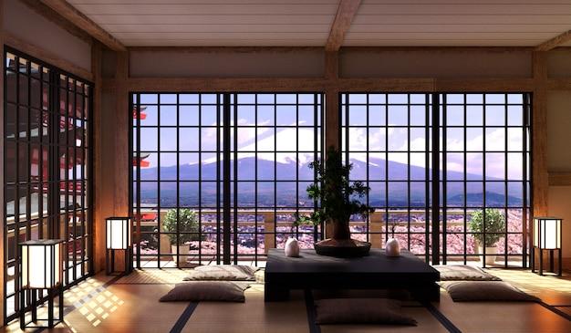 Design minimalista sala de estar japonesa, bonsai, mesa baixa no chão tatami mat.