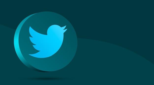 Design mínimo do logotipo do twitter no círculo 3d