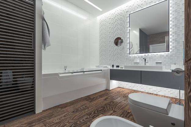 Design moderno de banheiro com chuveiro