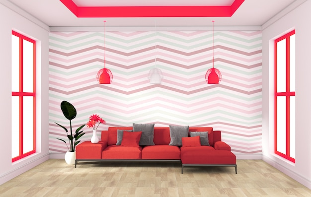 Design moderno de parede vermelha com aparador de sofá no interior do assoalho de madeira. renderização em 3d