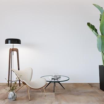 Design moderno de sala de estar com poltrona e outras decorações