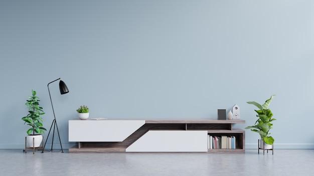 Design moderno de suporte de tv com parede azul com decoração.