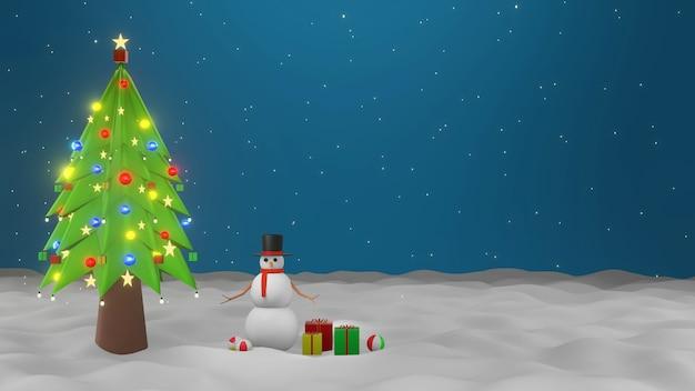 Design suave e premium moke up tree christmas com neve caindo e bonecos de neve