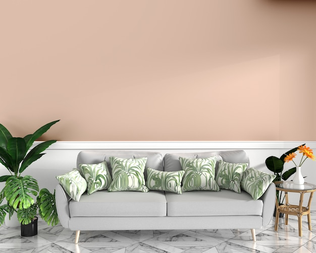 Design tropical, poltrona, planta, armário em piso de granito e fundo rosa