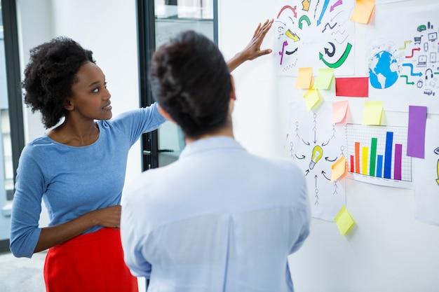Designer gráfica feminina fazendo apresentação
