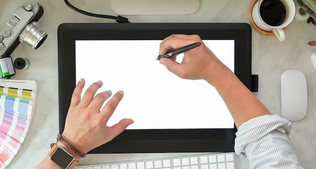 Designer gráfico, esboçar, ligado, tablete gráfico