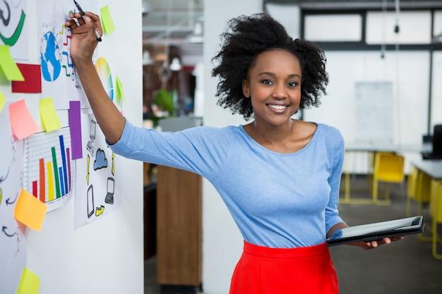 Designer gráfico feminino fazendo apresentação em escritório criativo