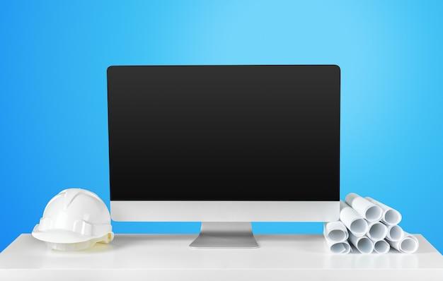 Desktop de trabalho do arquiteto