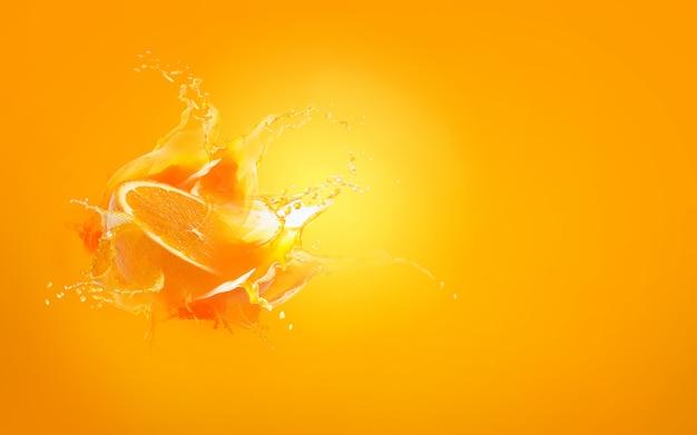 Deslize o pedaço de gota de laranja com água de respingo de suco de laranja