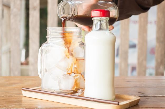 Despejar, café expresso, para, iced, vidro café