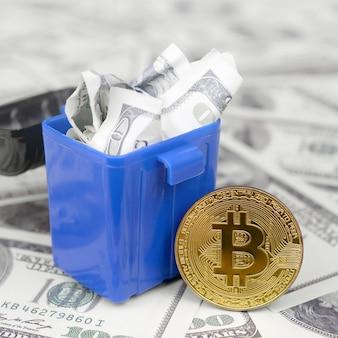 Desperdício de dinheiro sem sentido e sem consideração sob a forma de investimentos em criptomoeda