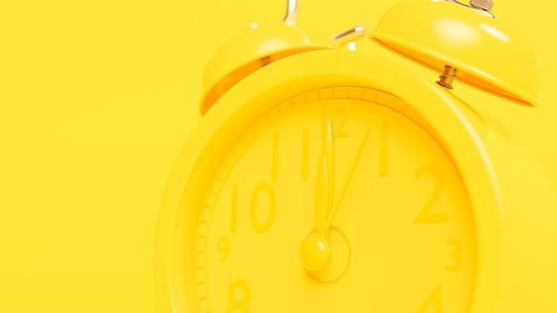 Despertador amarelo. alarme às 12h00. conceito de ideia mínima, renderização em 3d.