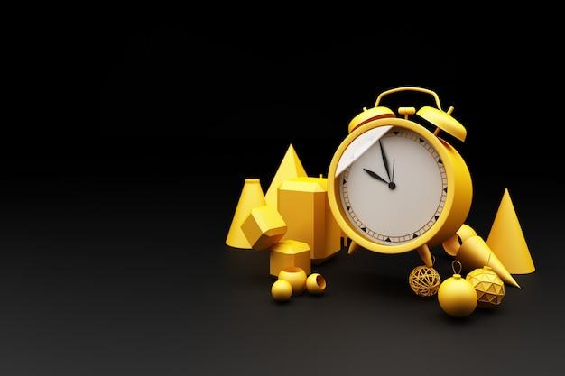 Despertador amarelo rodeado por muitas formas geométricas renderização 3d amarela