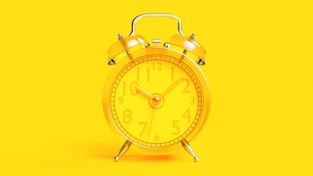 Despertador amarelo transparente, 3d render.