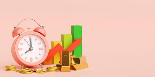 Despertador, barra de ouro e moeda com crescimento de gráfico, ilustração 3d