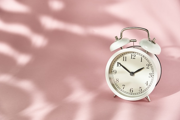 Despertador branco e sombras de folhas em rosa pastel. conceito de tempo mínimo criativo
