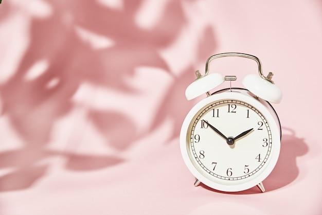 Despertador branco e sombras de folhas em rosa pastel.