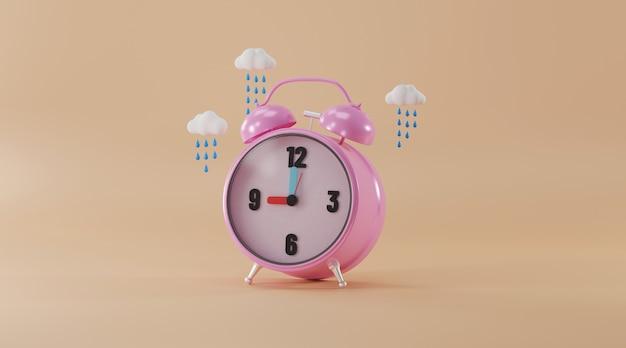 Despertador com chuva de nuvem.