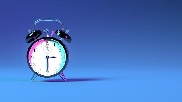 Despertador com iluminação neon azul e roxa, ilustração 3d